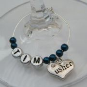 Usher Personalised Wine Glass Charm